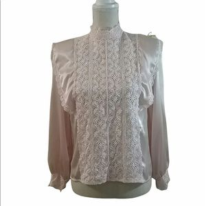 VTG Sonya Ratay for San Andre Satin Lace Top